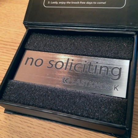 "Brushed Silver ""No Soliciting"" Sign"