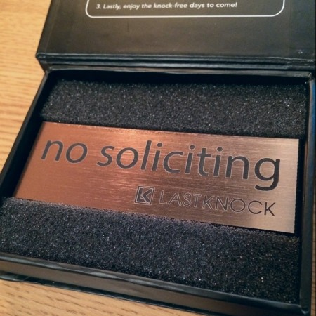 "Brushed Copper ""No Soliciting"" Sign"