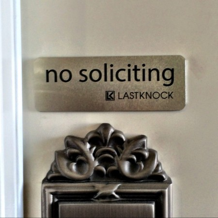 "Silver ""No Soliciting"" Sign"