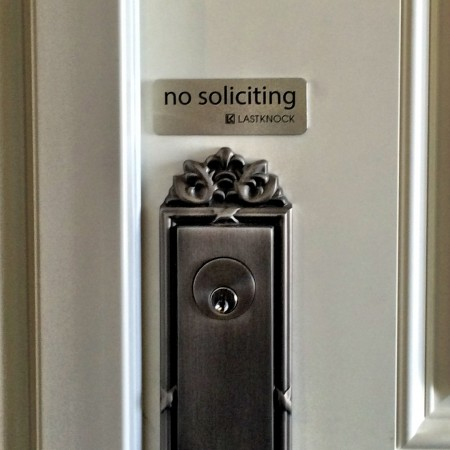"""Silver """"No Soliciting"""" Sign"""